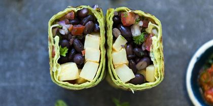 Breakfast burrito, black beans, potato & pico de gallo salsa vgn