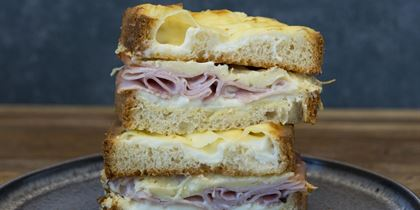 TCC Croque monsieur, champagne ham & gruyere cheese on brioche