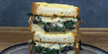 TCC Croque monsieur, mushroom, spinach & gruyere cheese on brioche v