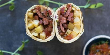 Breakfast burrito, chorizo, potato, pico de gallo salsa & cheese
